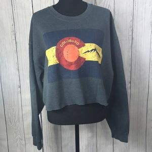 Gildan Gray Crew Neck California Crop Sweatshirt